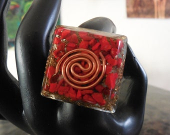 Square Orgone Ring, Natural Red Coral and Copper Swirl, EMF Radiation Protection, Root Chakra, Positive Energy Generator