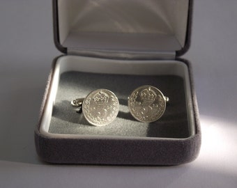 04sp. 1913 Silver Three-Pence Silver Cufflinks