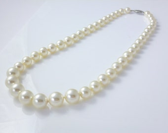 Pearl Necklace, Hand knotted Pearls,  10mm  Swarovski Pearl Elements, Wedding Pearls