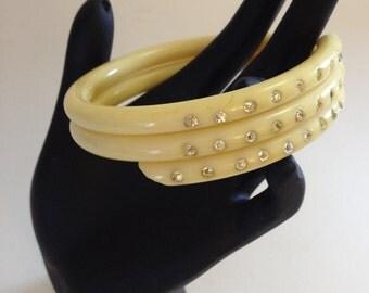 Vintage Celluloid Rhinestone Bracelet Bangle Rare 20s 30s Art Deco Multi Coiled Wrap