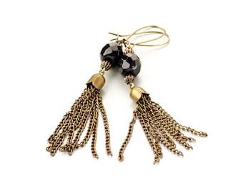 Pompon black & bronze earrings