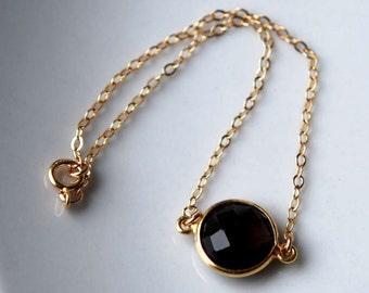 Smokey Quartz and 14K Gold Filled Bezel Set Bracelet, Gemstone Bracelet, Gold Filled Bezel set bracelet, Layering Bracelet