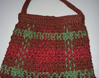 "Special Sale 10% Off - Tartan-Style Crocheted Purse, 11"" x 11"""