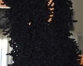 Long Fuzzy Jet Black Fizzel Spagetti Scarf Wool Blend