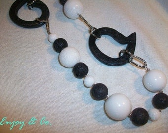 Long necklace with lava rock