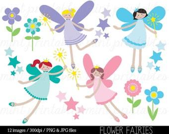 Fairy Clipart Clip Art, Clipart Fairies, Flower Fairies, Crown, Fairy Princess - Commercial & Personal - BUY 2 GET 1 FREE!