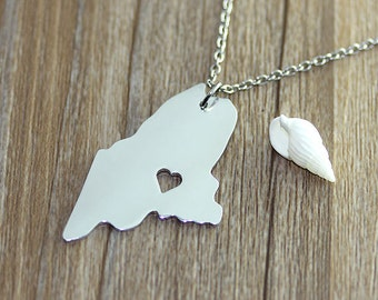 I heart Maine Necklace - Maine Pendant - State Necklace - State Charm - Map necklace - Map Jewelry