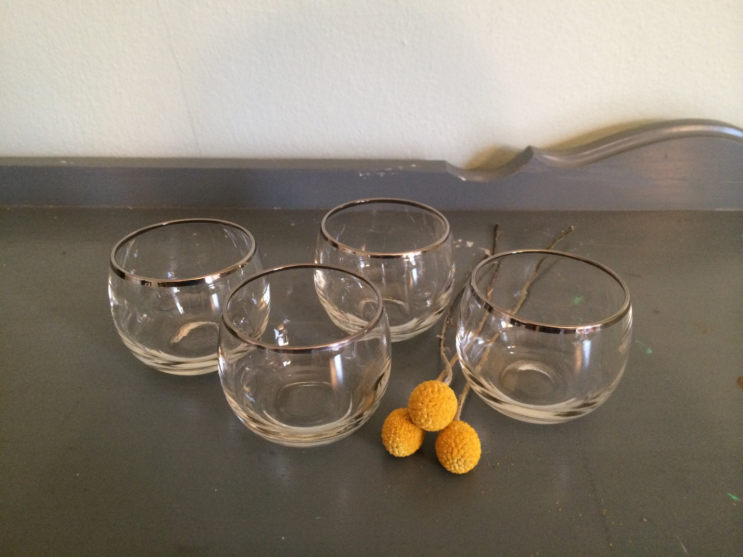 Four Stemless Brandy Glasses Cognac Snifters With Silver Rim