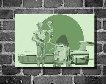Star Wars droidz movie poster minimalist poster star wars art r2d2 3cpo