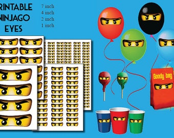 INSTANT DL- Ninjago eyes (set of 4 ) - for Balloon, Stickers, Lollipop, Favor bags, Cups - Digital JPEG file