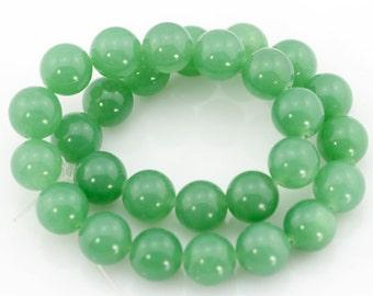 8-14mm Round Green Jade Beads,One Full Strand,Jade Beads,Round Jade Beads,Green Stone,Gemstone Beads----BJ012