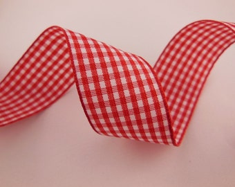 Red Gingham Ribbon 1''