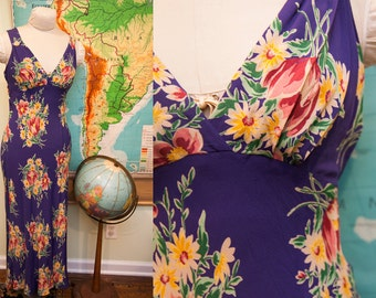 Vintage Betsey Johnson Floral Flowing Dress // Size 4 - 6 or XS - S