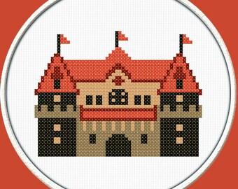 Orange Castle  - PDF Downloadable Printable Cross Stitch Pattern