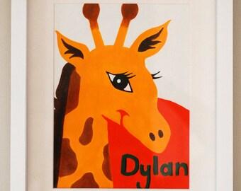 "Personalised Nursery Art, Giraffe painting, Baby Boy decor, Safari Nursery art, new baby gift, 6"" x 8.5"" A5 original acrylic painting"
