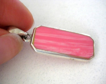 Sterling Silver 925 pink square Pendant