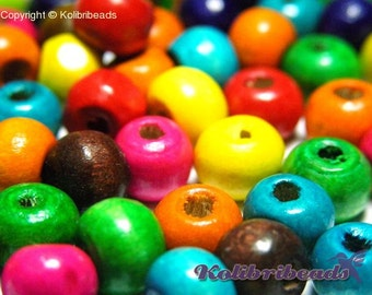 100x Abacus Round Wooden Beads 8 mm x 6 mm - Mixed Colours