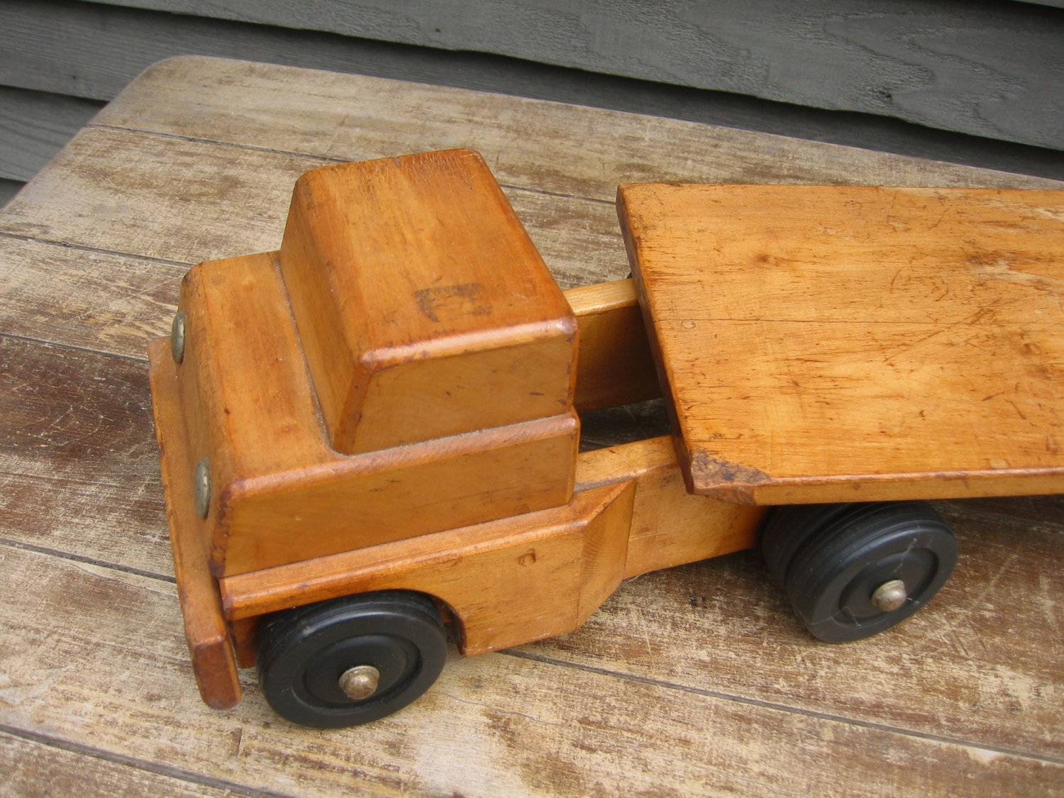 Marvelous photograph of Vintage Two Piece Wooden Flat Bed Toy Truck by HighFarmAttic with #A26629 color and 1500x1125 pixels