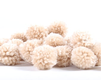 Pom Poms Pack of 100 Pieces Cotton Handmade Thailand Fair Trade (ACC203-TAN)