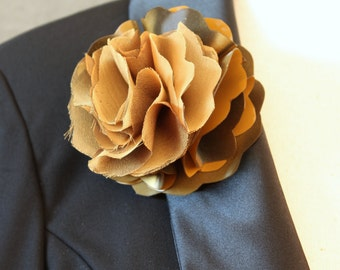 Gold Shiny Plastic and Chiffon Flower Magnetic pin