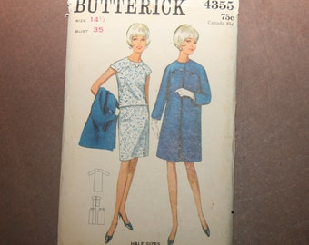 Vintage Butterick Dress Pattern 4355 - Size 14-1/2/Bust 35 - FREE US SHIPPING