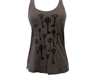 Skeleton Key Tank Top - Antique Keys American Apparel Tri-Blend Tank - Available in sizes S, M, L