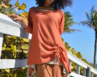 The Parachute Drawstring Top in Organic Hemp Jersey. Made to order.
