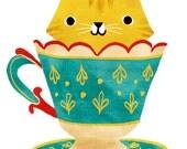 TEACUP KITTY Printable Art print Instant Download Digital Illustration Cat Kitten Tea Cup Cute Funny Cartoon Artwork Kitty Kawaii kitsch