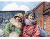 Sisters Vintage Portrait Gatsby Flappers 1920 Mixed Media Original Printmaking with Colored Pencil Belinda Del Pesco
