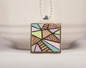 Abstract Wood Burned Tile Pendant