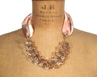 SALE Pink Statement Necklace, Statement Necklace, Luxe Statement Necklace, Scarf Necklace, Luxe Necklace, Pink Luxury Necklace, Luxe Gift
