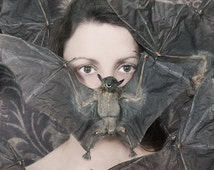 Photo Bomber - FREE SHIPPING - Print Bats Taxidermy Dead Dried Purple Plum Brown Girl Hiding Wings Face EyesSurreal Conceptual Horror Creepy