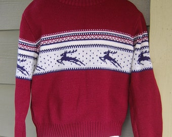 Vintage Preppy Nordic Ski Leaping Reindeer Burgandy Crewneck Sweater Kids Size Small
