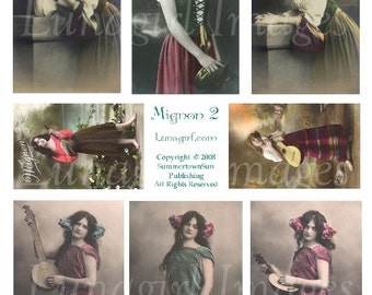 MIGNON No2 Gypsy Girls digital collage sheet vintage photos Victorian images French postcards music altered art ephemera supplies DOWNLOAD