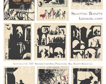 SLEEPING BEAUTY digital collage sheet, vintage images fairy tale art illustrations, princess silhouettes altered ephemera fantasy DOWNLOAD