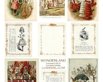 ALICE WONDERLAND digital collage sheet Victorian vintage images art illustrations fairy tale storybook fantasy altered ephemera DOWNLOAD
