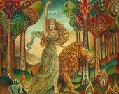 Strength Tarot Goddess Psychedelic Pagan Art Nouveau 8x10 Print