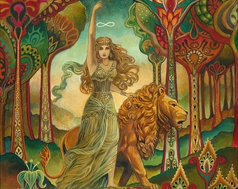 Strength Tarot Art Nouveau 11x14 Fine Art Print Pagan Mythology Psychedelic Bohemian Gypsy Goddess Art