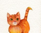 watercolor painting cat original, small orange cat artwork, small animal art, 4 x 6, orange malmalade cat illustration