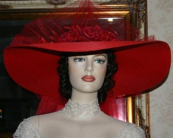 Southern Belle Hat Victorian Hat Kentucky Derby Hat Ascot Hat - Red Simplicity - Wide Brim Hat Womens