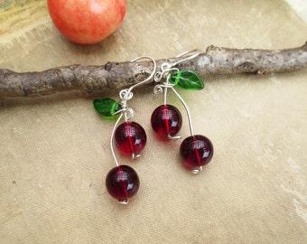 Cherry Earrings, Red Glass Beads, Red Cherries, Cherry Jewelry, Fruit Earrings, Women, Jewellery Gift for Her, Fruit Jewelry Dangle Earrings