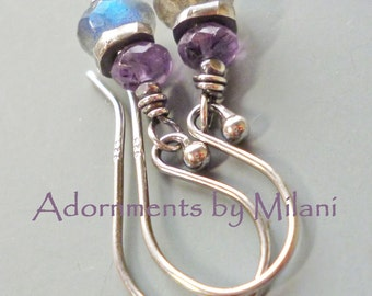 Gray and Lavender Earrings Labradorite Light Purple Lilac Stone Beaded Sterling Silver Small Maid of Honor Bridesmaid
