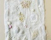 Hand embroidered, stitched cloth, sampler, scrim and antique linen, REDUCED