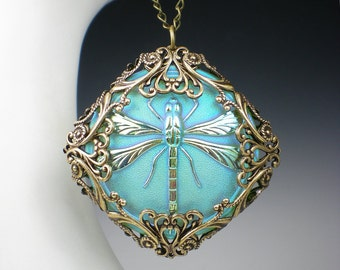 Dragonfly Necklace Light Turquoise Czech Glass Button Oxidzed Brass Filigree Vintage Inspired Dragon Fly Jewelry