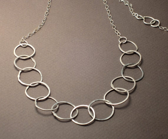 Forged Link Chains : Hand forged link chain necklace sterling silver