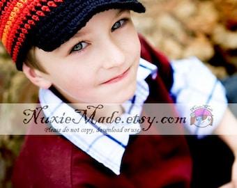 12-24 months Black Beanie Hat with Brim, Stripe Newsboy Hat, Black Newsboy Crochet Hat, Newsboy for Toddlers, Kids Winter Beanie, NuxieMade
