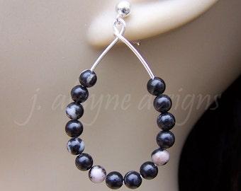 Black Stone Earrings. Black Teardrop Earrings. Sterling Silver Post Earrings. Black and White Earrings. Marble Earrings