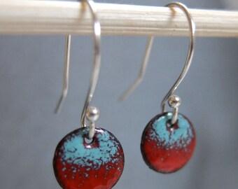 Petite Ombre Enamel Earrings, Red and Robin's Egg Blue Kiln Fired Glass Enamel, Sterling Silver Hooks, Small Dangle Earrings