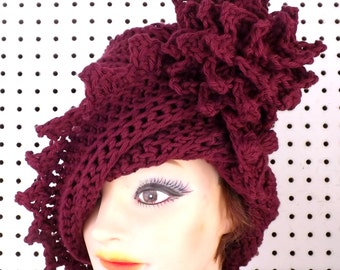 Aubergine Cloche Hat,  Womens Crochet Hat Womens Hat 1920s,  Aubergine Hat,  Lauren 1920s Cloche Hat Crochet Flower