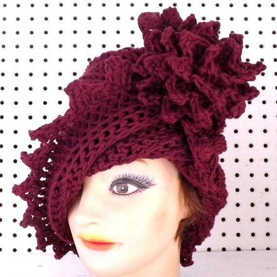 Aubergine Crochet Hat Womens Hat, Summer Hat for Women, Cloche Hat, Crochet Flower, Aubergine Hat, LAUREN Cloche Hat, Crochet Hat